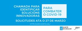 A Xunta de Galicia mantén aberta ata o próximo venres unha chamada para identificar solucións innovadoras que combatan o coronavirus covid-19
