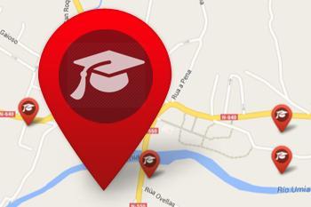 Centros de ensino no mapa